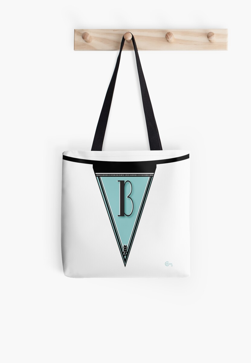 Pennant Deco Blues Monogram  … initial B by CecelyBloom