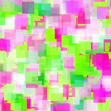 geometric square pattern abstract background in pink and green by Mrvell