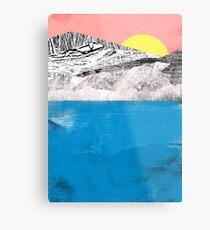 Lienzo metálico Montañas del lago