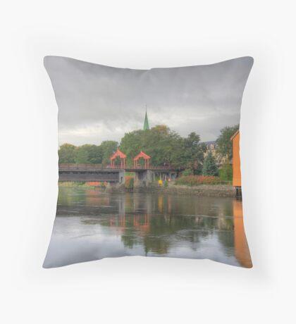 Trondheim - Gamle Bybro Throw Pillow