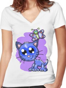 Kitten and Butterfly friends Women's Fitted V-Neck T-Shirt