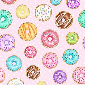 Scattered Rainbow Donut on pale spotty pink - repeat pattern by HazelFisher