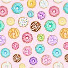 Scattered Rainbow Donut on pale spotty pink - repeat pattern by Hazel Fisher