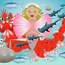 Mermaid and dragon by Wilfried van Dokkumburg