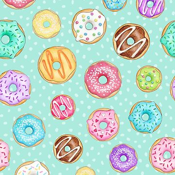 Copy of Scattered Rainbow Donut on spotty mint - repeat pattern by HazelFisher