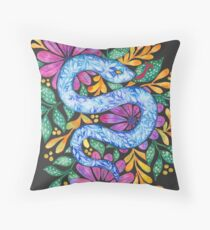 Snake on Black Throw Pillow