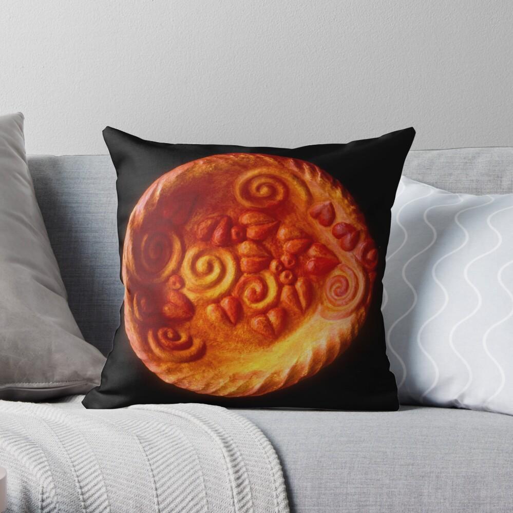 orange plate Throw Pillow
