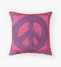 Hand-Sewn Peace Sign Throw Pillow
