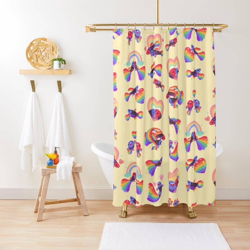 Rainbow guppy 5 Shower Curtain