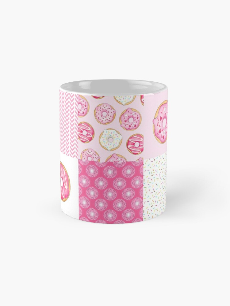 Alternate view of Pink Donuts Patchwork Quilt pattern Mugs