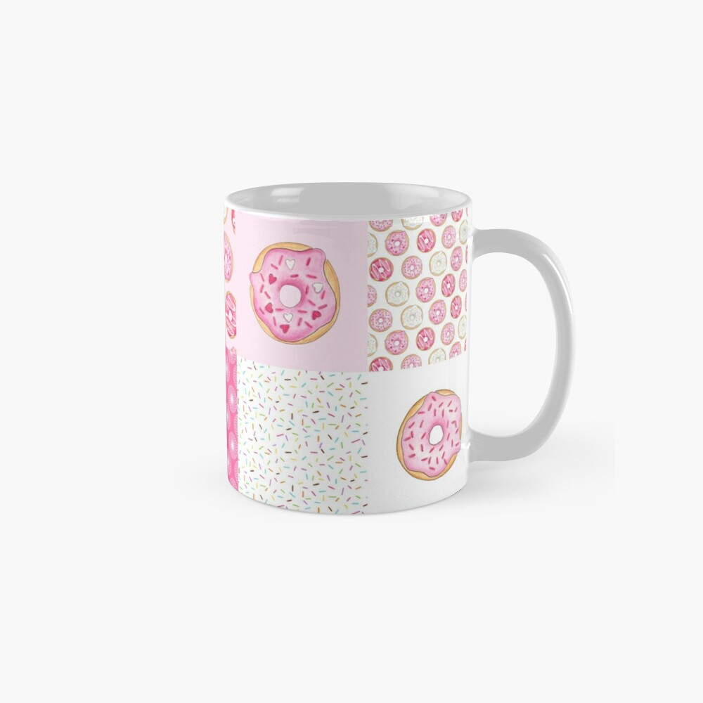 Pink Donuts Patchwork Quilt pattern Mugs
