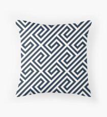 Navy Greek Keys Geometric Pattern Throw Pillow