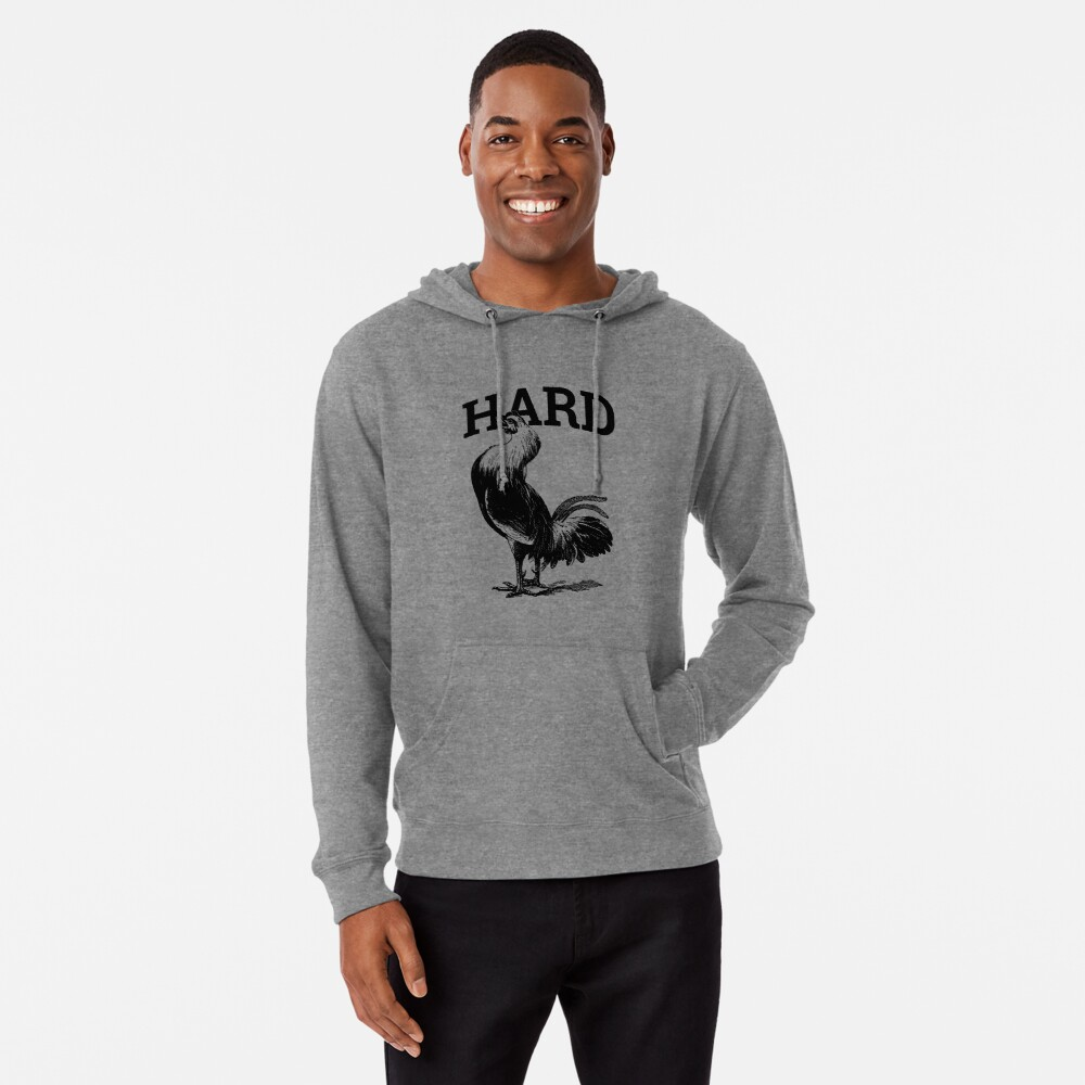 Funny Cock Pics hard cock mens humor cock vintage rooster funny | lightweight hoodie