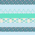 Blue Donuts Patchwork Quilt Stripes pattern by Hazel Fisher