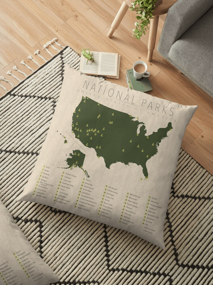 \'US National Parks\' Floor Pillow by FinlayMcNevin