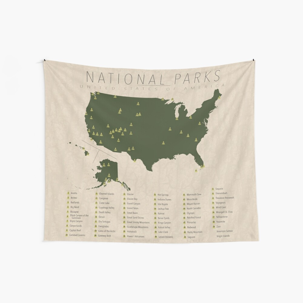 US National Parks Wall Tapestry
