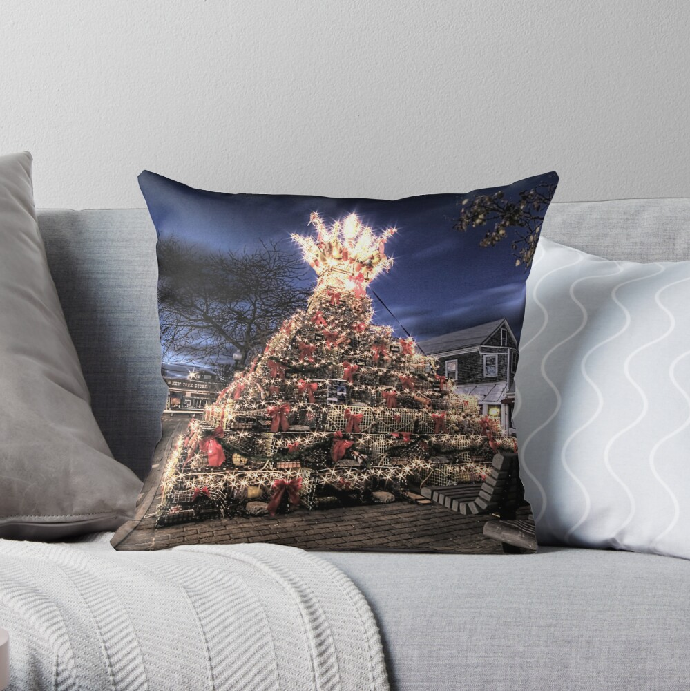 Provincetown Lobster Trap Christmas Tree Throw Pillow