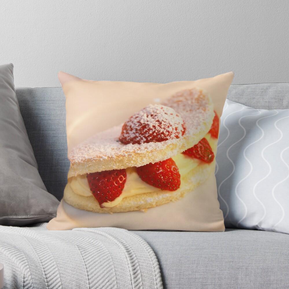Strawberry sponge cake Throw Pillow