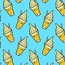 Kawaii Pineapple Whip Floats on Tropical Blue by TimorousEclectc