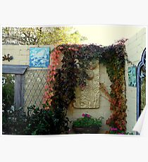 Plaques and baskets in a cottage garden Poster