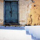 Blue Door And White Stairs, Greek Islands by Josh Wentz