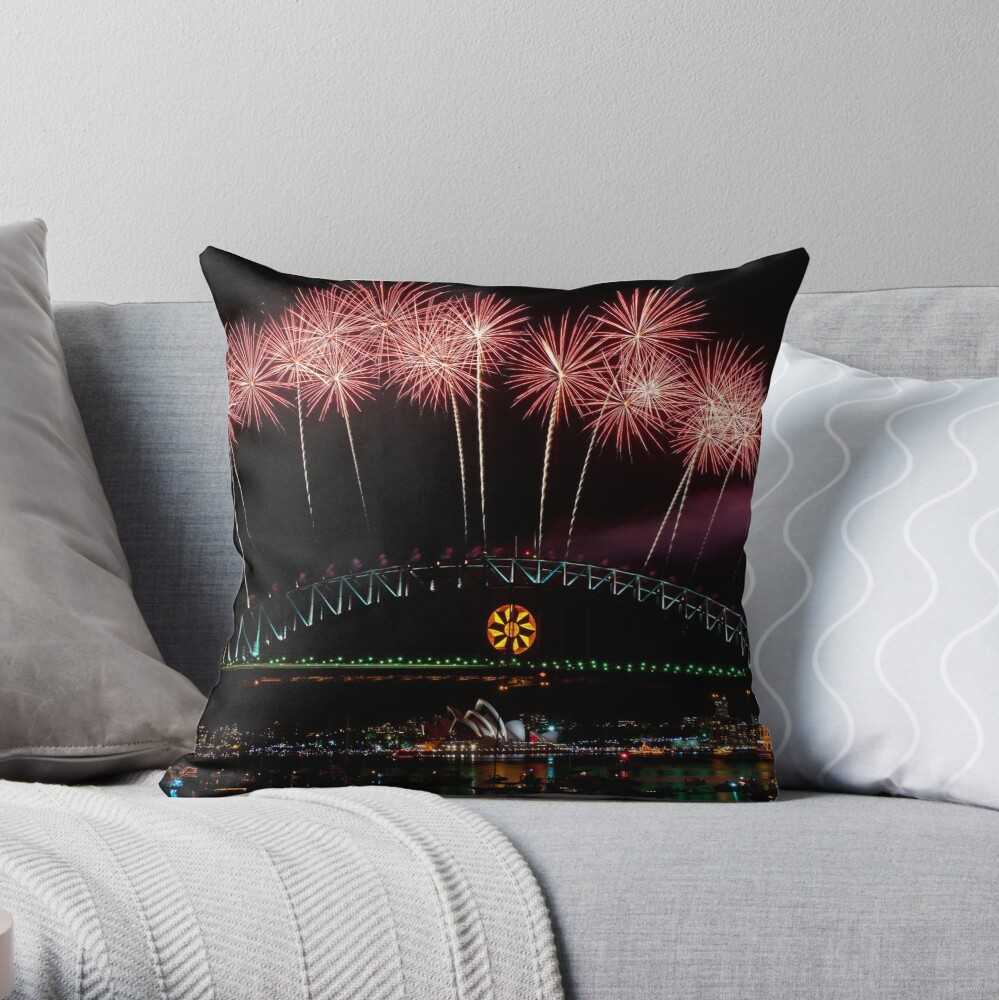 NYE 2008: Midnight Fireworks at McMahons Point Throw Pillow