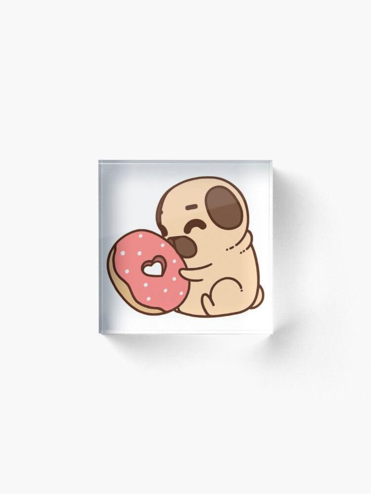 Alternate view of Cute Pug With Doughnut Acrylic Block