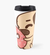 Cute Pug With Doughnut Travel Mug