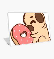 Cute Pug With Doughnut Laptop Skin