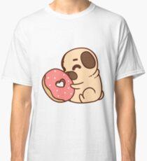 Cute Pug With Doughnut Classic T-Shirt