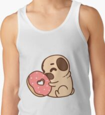 Cute Pug With Doughnut Men's Tank Top