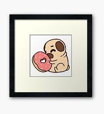 Cute Pug With Doughnut Framed Print