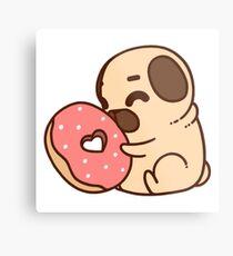 Cute Pug With Doughnut Metal Print
