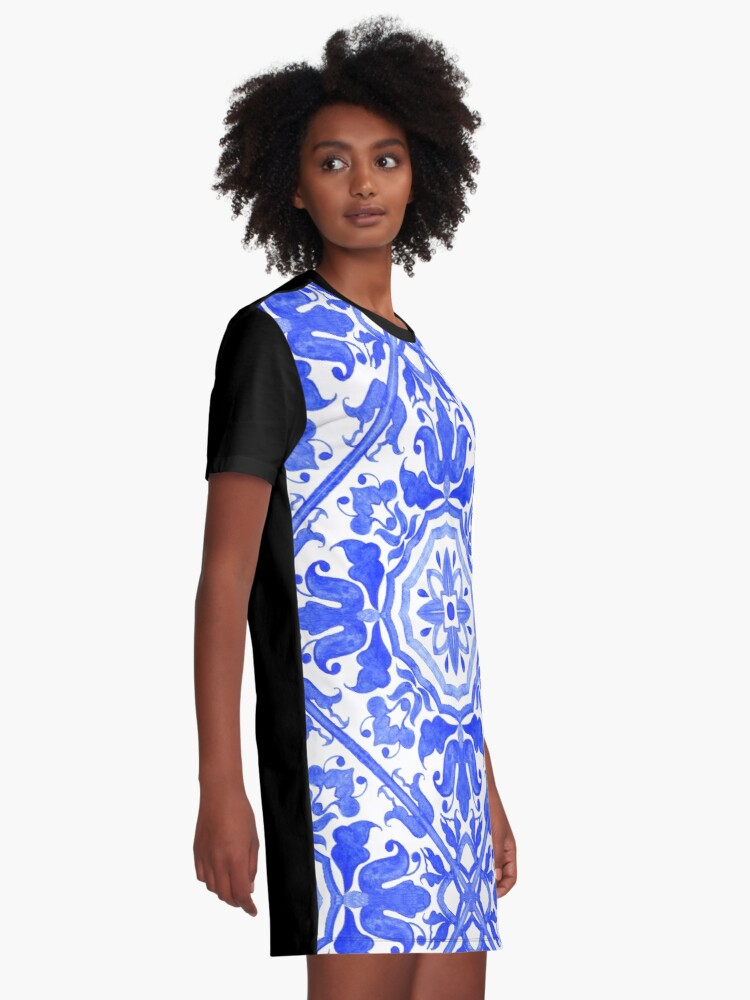 Alternate view of Portuguese azulejo tiles.  Graphic T-Shirt Dress