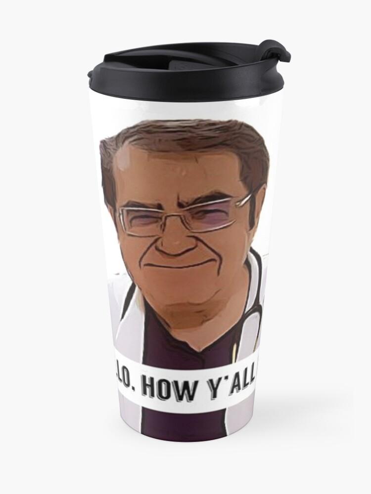 Alternate view of Dr Now - Hallo, how ya all doin, digital artwork Travel Mug