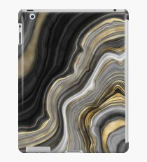 Black Marble Gold Ribbon Lines iPad Case/Skin