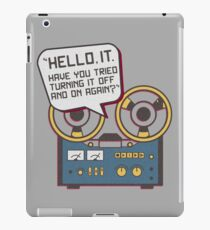 IT Crowd Inspired - Hello IT - Turn it Off and On Again - Tech Support Parody iPad Case/Skin