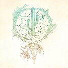 Dreamcatcher Desert Cactus Boho Southwest Design Gold Teal Cream von naturemagick