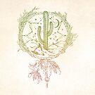Dreamcatcher Desert Cactus Boho Southwest Design RoseGold Cream von naturemagick