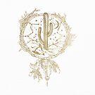 Dreamcatcher Desert Cactus Boho Southwest Design Gold White von naturemagick