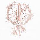 Dreamcatcher Desert Cactus Boho Southwest Design Rosegold White von naturemagick