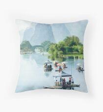 """Bamboo Rafting to Shangri La"" Watercolor Throw Pillow"