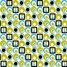 Mod Style Lime Turq Circles Squares by Lois Eastlund