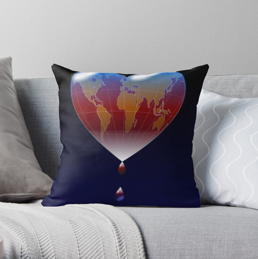 Crying Planet Throw Pillow