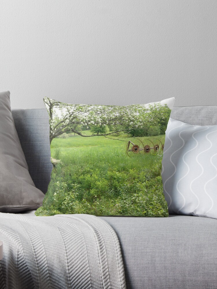 'Spring Farm Scene' Throw Pillow by mooselandtours