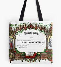 Old wedding certificate Tote Bag