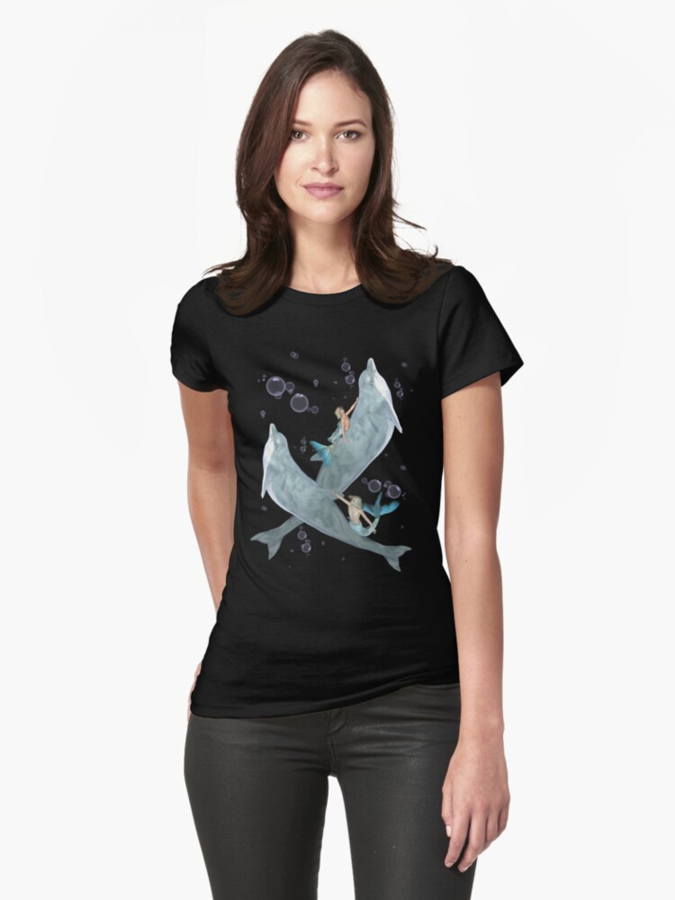 Mermen and Dolphins at Play .. tee shirt by LoneAngel