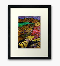 She's All Washed Up -(Printmaking and TEXTA) Framed Print