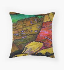 She's All Washed Up -(Printmaking and TEXTA) Throw Pillow