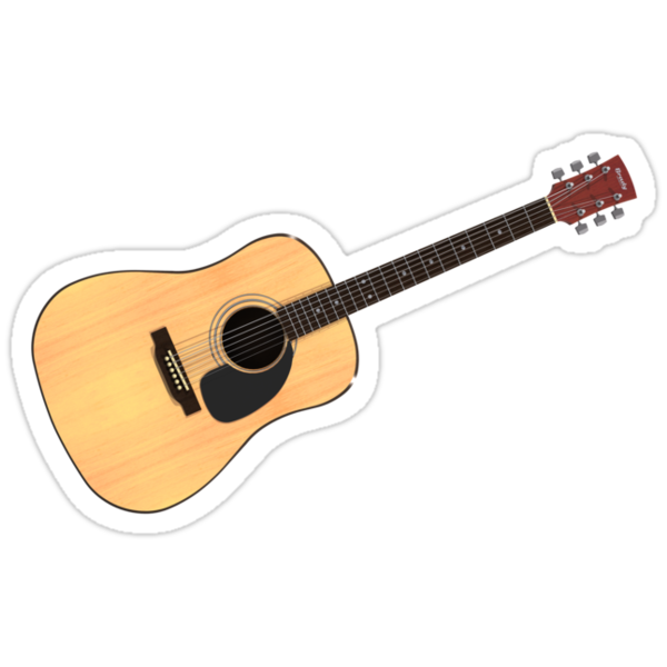 acoustic guitar stickers by bradyarnold redbubble. Black Bedroom Furniture Sets. Home Design Ideas